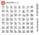 real estate icons   thin line... | Shutterstock .eps vector #515018089