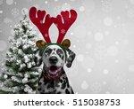 christmas card. dog dalmatian... | Shutterstock . vector #515038753