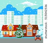 winter cityscape. in the... | Shutterstock .eps vector #515042536