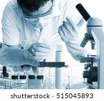 conical flask in scientist hand ... | Shutterstock . vector #515045893