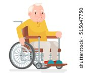 wheelchair old man character... | Shutterstock .eps vector #515047750