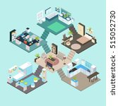 isometric rooms composition on... | Shutterstock .eps vector #515052730