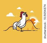 rooster. sun rise flat design...   Shutterstock .eps vector #515054374