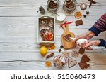woman decorating gingerbread...   Shutterstock . vector #515060473