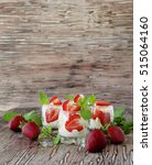 strawberries with cream or... | Shutterstock . vector #515064160