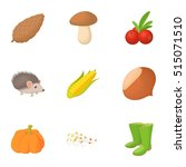 falling leaves season icons set.... | Shutterstock .eps vector #515071510