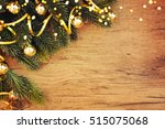 christmas wooden background | Shutterstock . vector #515075068