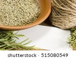sprig fresh rosemary and a bowl ... | Shutterstock . vector #515080549