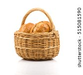 bun bread in wicker basket... | Shutterstock . vector #515081590