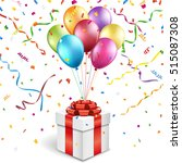 gift box with colorful balloons | Shutterstock .eps vector #515087308