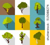 trees icons set. flat...