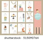 colorful cute monthly calendar... | Shutterstock .eps vector #515090764