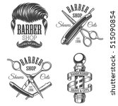 set of vintage barbershop... | Shutterstock .eps vector #515090854