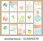 colorful cute monthly calendar...   Shutterstock .eps vector #515094370