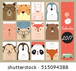 Stock vector colorful cute monthly calendar with bear penguin monkey and tiger can be used for web banner 515094388
