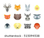 cartoon animals party mask set...   Shutterstock .eps vector #515094538