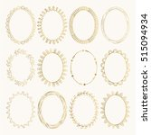 set of golden oval hand drawn... | Shutterstock .eps vector #515094934