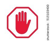 rad hand blocking sign stop | Shutterstock . vector #515103400