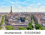 Small photo of Beautiful panoramic view of Paris from the roof of the Triumphal Arch. View of the Eiffel Tower.