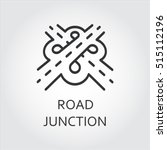 label of road junction  icon in ... | Shutterstock .eps vector #515112196