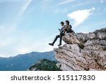 happy man and women sit down on ... | Shutterstock . vector #515117830