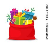 full bag of gifts from santa... | Shutterstock .eps vector #515131480