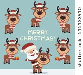 merry christmas  set of funny... | Shutterstock .eps vector #515133910