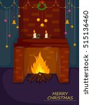 fireplace for merry christmas... | Shutterstock .eps vector #515136460