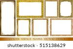 set of gold photo frame with... | Shutterstock .eps vector #515138629