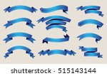ribbon banners.set of blue... | Shutterstock .eps vector #515143144