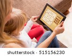 mother and daughter playing... | Shutterstock . vector #515156230