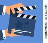 flat movie clapperboard symbol. ... | Shutterstock .eps vector #515160784