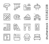 home decoration and furniture thin line icon set, black color, isolated | Shutterstock vector #515182108