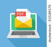 laptop with envelope and pdf... | Shutterstock .eps vector #515189170