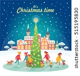 christmas illustration with... | Shutterstock .eps vector #515195830