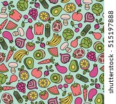 seamless pattern with fruits... | Shutterstock .eps vector #515197888