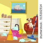 cleaning banner. living room.... | Shutterstock .eps vector #515202514