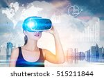 girl in 3d glasses and black... | Shutterstock . vector #515211844