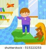 worried boy finds out he wet...   Shutterstock .eps vector #515223253