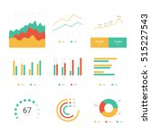 flat graph and chart vector set....