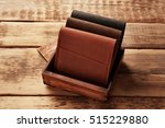 stylish leather wallets in box... | Shutterstock . vector #515229880