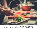 chef finishing her plate and... | Shutterstock . vector #515248924