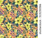 watercolor flower seamless... | Shutterstock . vector #515250586