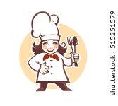 happy cartoon chef  vector... | Shutterstock .eps vector #515251579