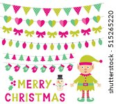 christmas vector set with an... | Shutterstock .eps vector #515265220