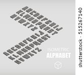 set of isometric alphabet gray. ... | Shutterstock .eps vector #515267140