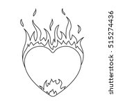 heart in flame icon in outline... | Shutterstock .eps vector #515274436