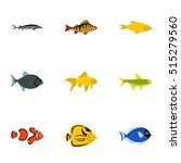Fish Icons Set. Flat...