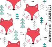 seamless fox in the forest... | Shutterstock .eps vector #515285128