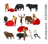 vector bullfighting set of...